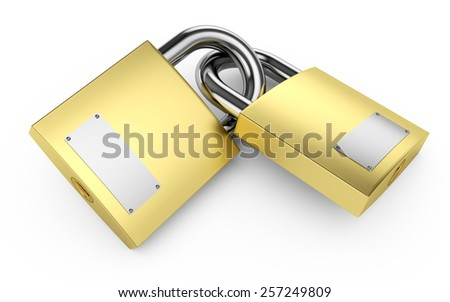 Two closed padlocks on a white 3d illustration - stock photo