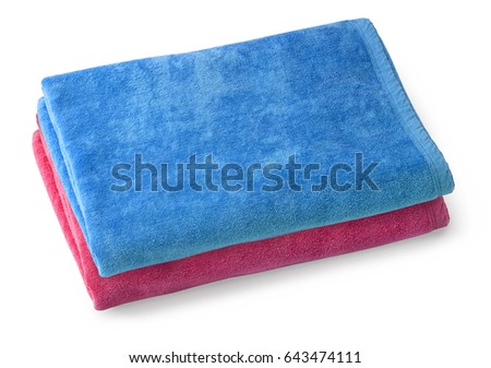 Two cloth towel isolated on white background