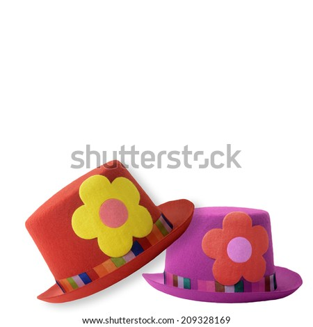 Two clown hats isolated on white background - stock photo