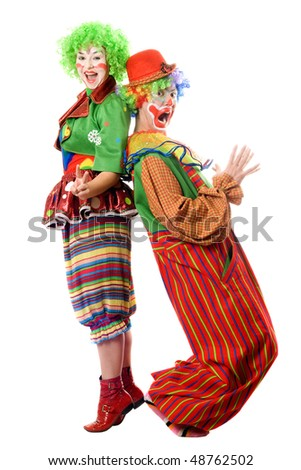 Two clowns are back to back. Isolated - stock photo