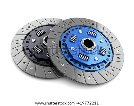 Two clutch disc car on white background (done in 3d, cgi)