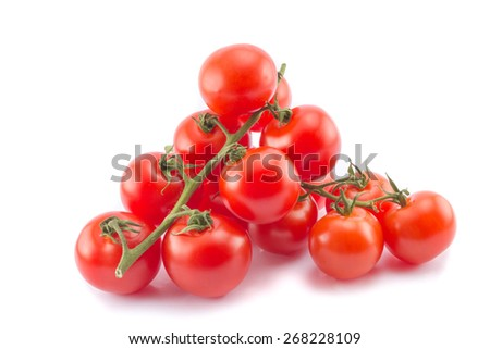 Two cocktail tomato branches isolated - stock photo