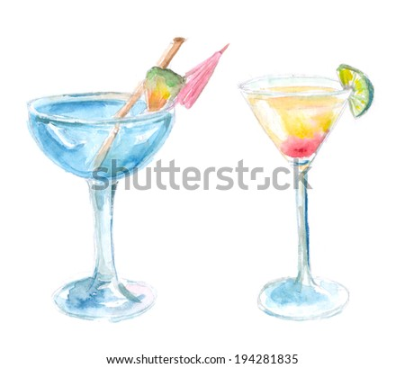 Two cocktails: blue lagune and tequila sunrise. Watercolor illustration isolated on white background. - stock photo