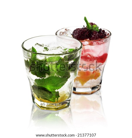 Two Cocktails Isolated on White Background - stock photo