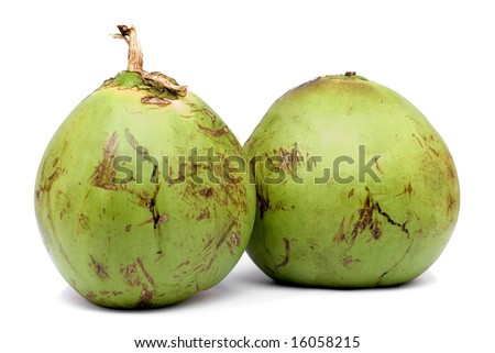 Two Coconut Fruits on white background . - stock photo