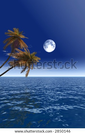 Two coconut palms and full moon - 3D scene. - stock photo