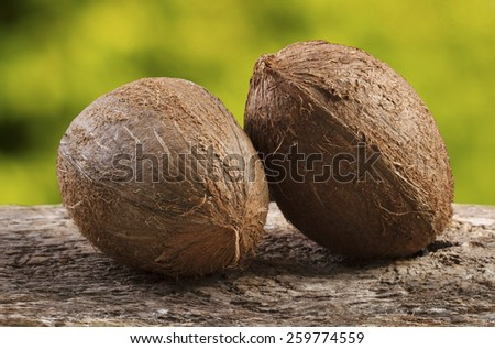 Two Coconuts on Green Background - stock photo