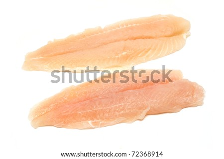 two cod fillets isolated on white background - stock photo