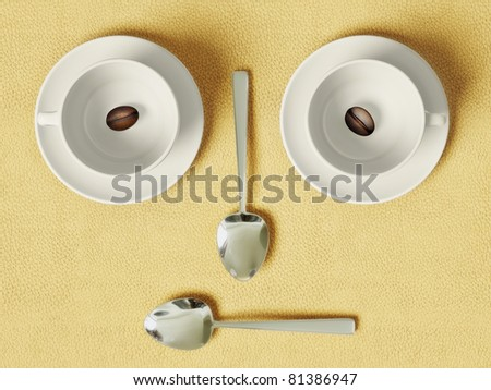two coffee cup on yellow background