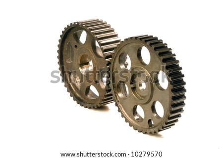 two cogwheels isolated on white