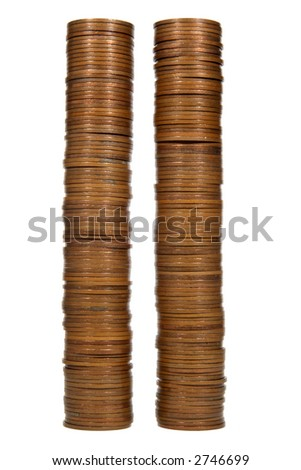 Two coin towers.