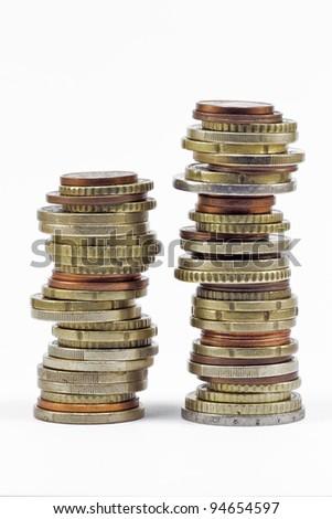 two coins euros stacks isolated on white background - stock photo