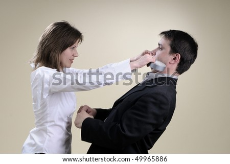 two colleagues in big conflict - stock photo