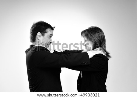 two colleagues in conflict - stock photo