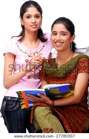 two college students sitting together - stock photo