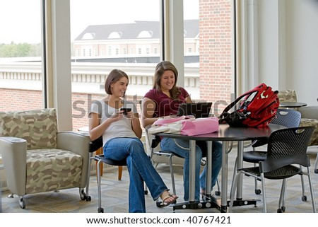 Two College Students Studying - stock photo
