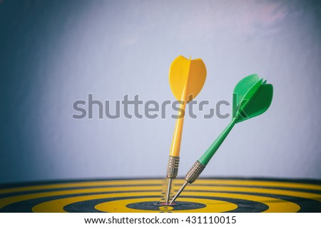 Two color dart with target arrows ,business concept of target marketing. Success or Goal symbol. - stock photo