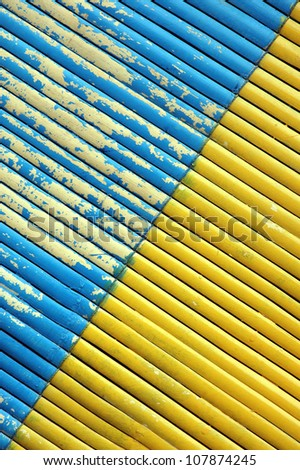 two color diagonal on bamboo curtain - stock photo