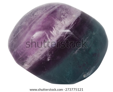 two color fluorite (green and purple) macro isolated on white - stock photo