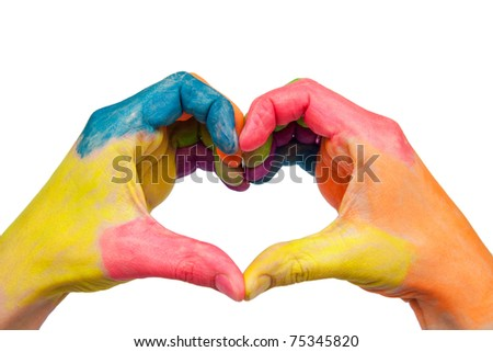 Two color hands showing a heart shape with their fingers as logo. Isolated on white background with clipping path
