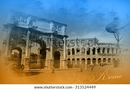 Two-color postcard with view of Rome  - stock photo