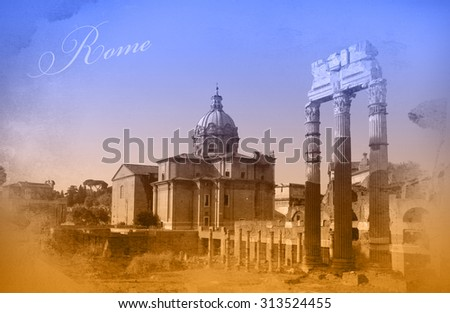 Two-color postcard with view of Rome