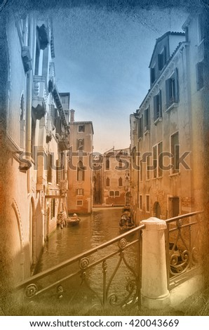 Two-color postcard with view of Venice, Italy - stock photo