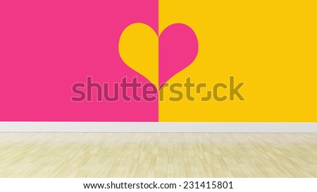 two color wall with heart shape, interior - stock photo