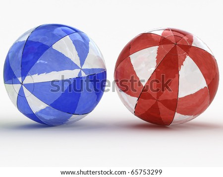 Two colored beach ball