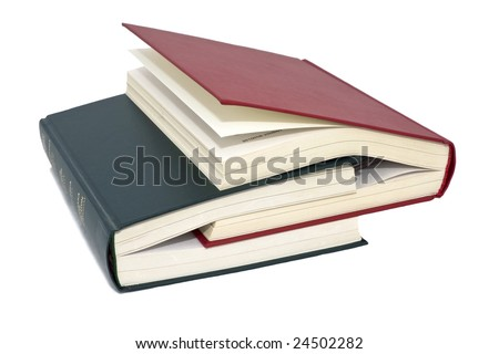 Two colored books, white background isolate. - stock photo
