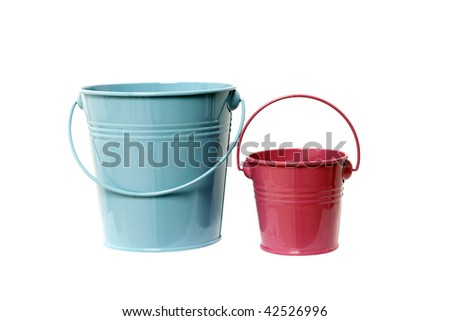Two colored buckets isolated - stock photo
