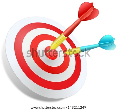 Two colored darts jabbed in the circular dartboard  at white background