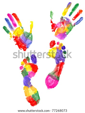 two colored handprint and two colored footprint - stock photo