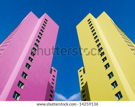 Two colored modern city twin towers