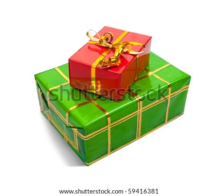 Two colored present boxes on white background. Isolated with clipping path - stock photo