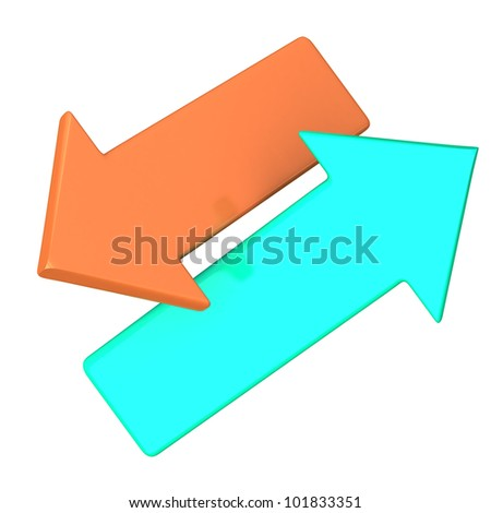Two colorful arrows 3d