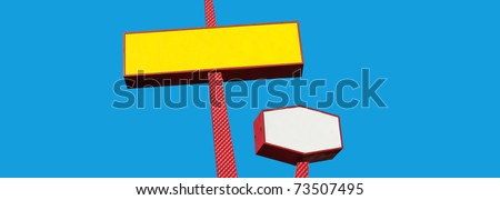 two colorful blank signs with room for your text - stock photo