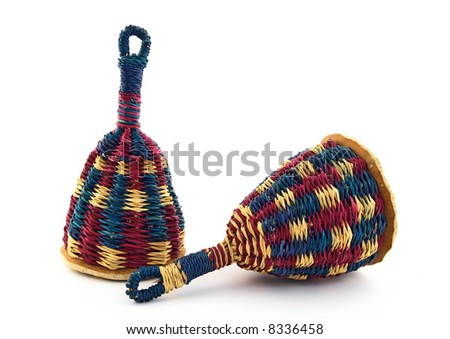Two colorful caxixi, traditional Afro-Brazilian percussion instrument. - stock photo