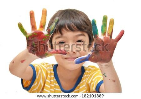 Two Colorful hands , boy - stock photo