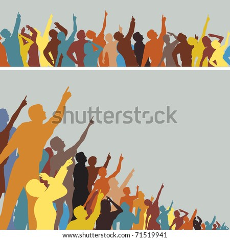 Two colorful illustrated silhouettes of crowds pointing and looking upwards