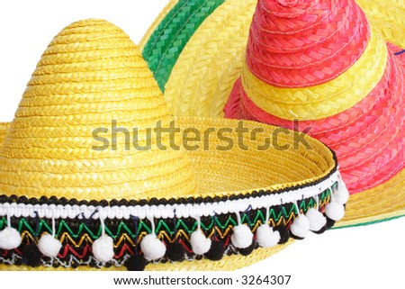 Two colorful mexican hats isolated - stock photo