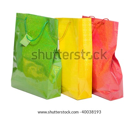 Two colorful paper bags for gifts isolated on white