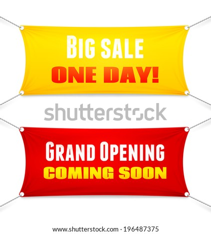 Two colorful red and yellow rectangular textile banners suspended from the corners by ropes with slogans. Big Sale  Opening Soon. Grand Opening  Coming Soon illustration - stock photo