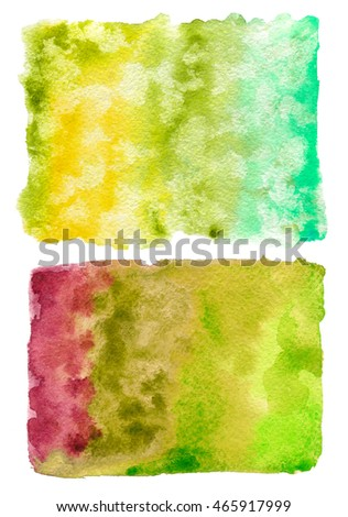 Two colorful watercolor background. Watercolor texture isolated on a white background.