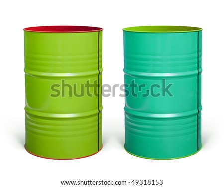 two coloured steel barrels on white background with paths - stock photo