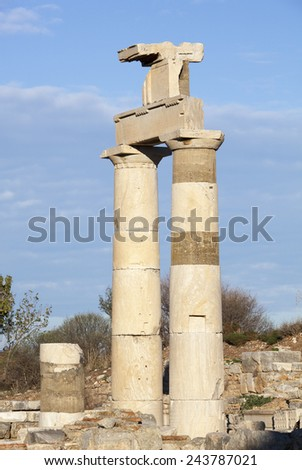 Two columns still standing in Ephesus ancient city (Turkey). - stock photo