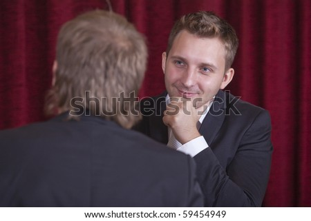 two comedians playing spectacular on the stage - stock photo