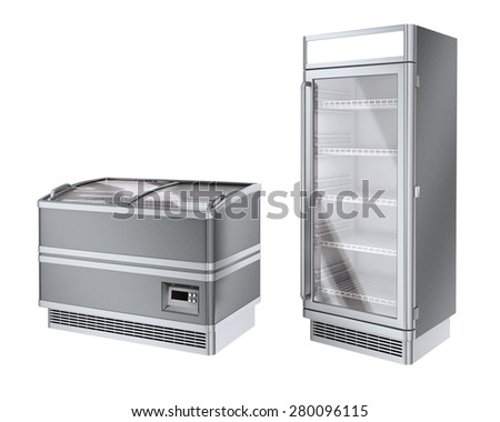 Two commercial refrigerator - stock photo