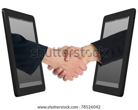 Two Computer Device and Hands in handshaking, Inctrnet Working Concept, Wireless Communication, Online Business - stock photo