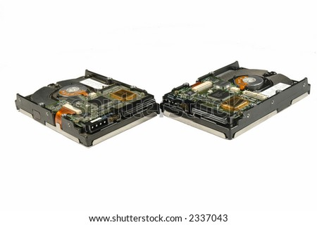 Two computer hard drives isolated